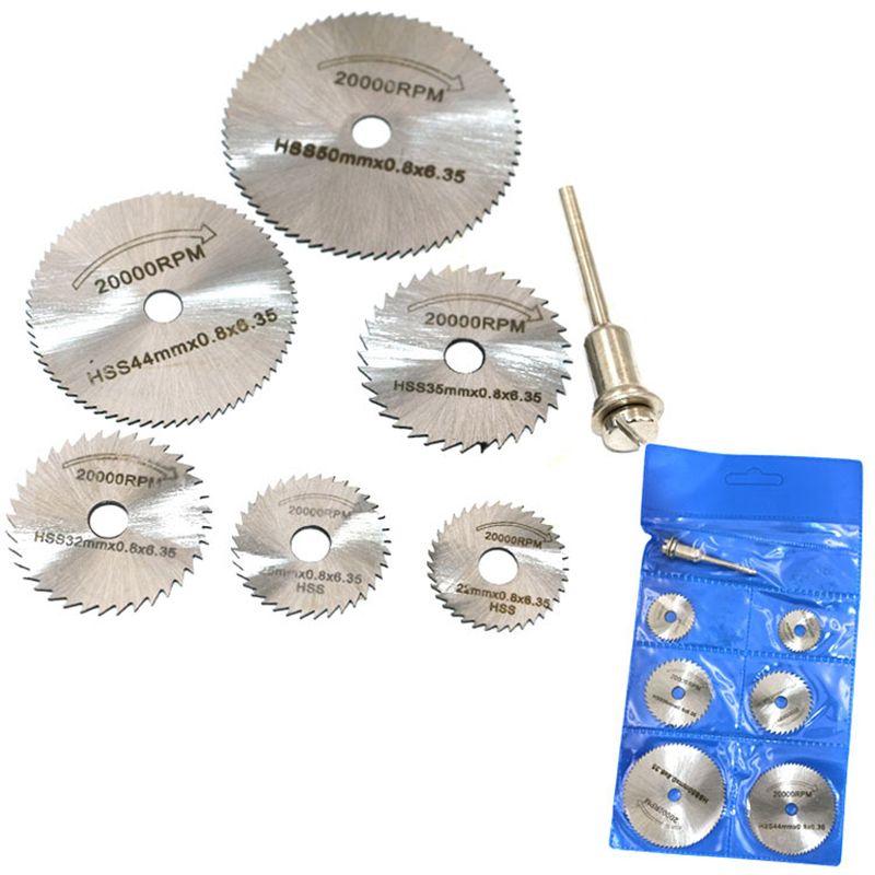 6pcs HSS Circular Saw Blade Rotary Tool For Metal Cutter Power Tool Set Wood Cutting Discs Drill Mandrel