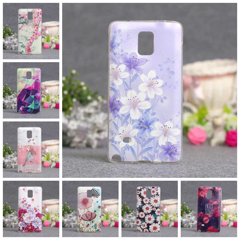 For Coque Samsung Galaxy Note 4 N9100 Case Silicone TPU Back Cover 3D Cute Flower Case Capa For Samsung Note 4 Note4 Phone Cases