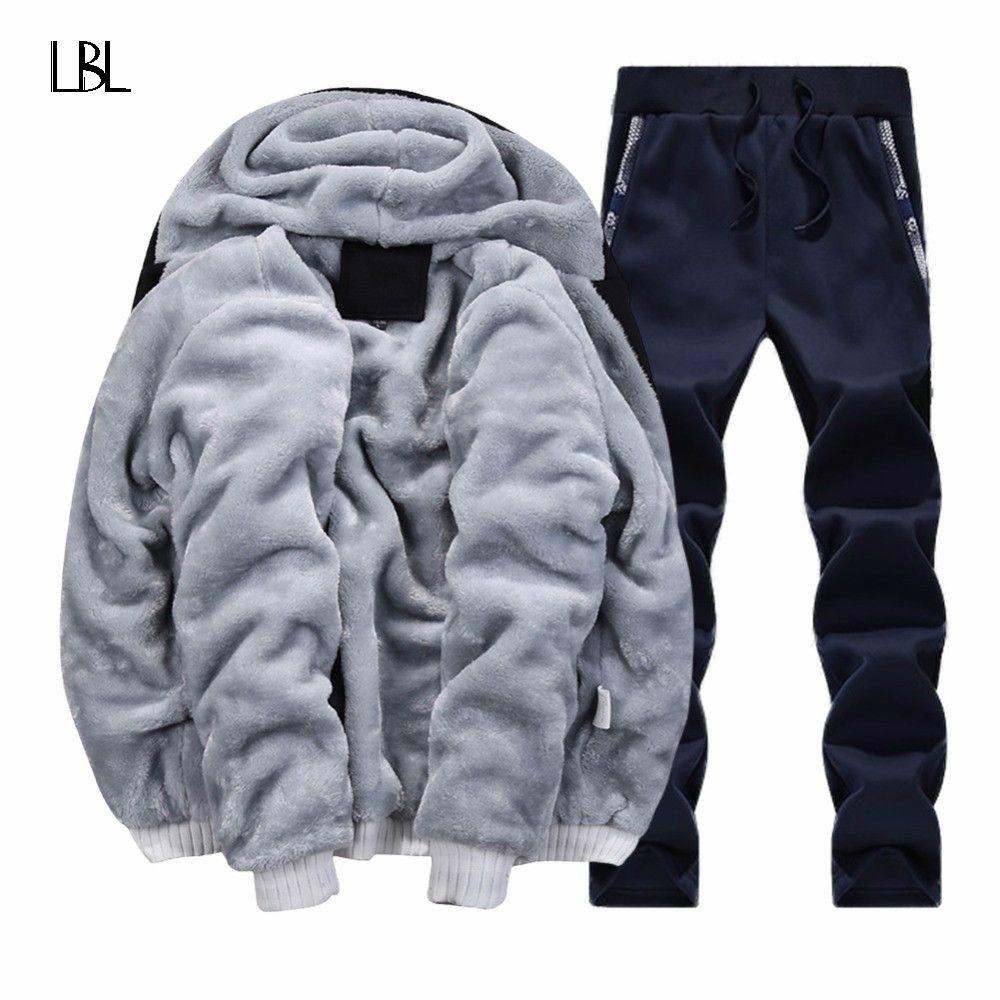 Winter Brand Warm Hooded Fur Fleece Hoodies Men 2018 Jacket Men Hoodies Sweatshirts Men Coat+Pant 2 PCS Cardigan Tracksuit Men