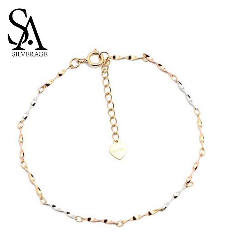SA SILVERAGE18K Gelb Gold Kette Link Armbänder Armreifen für Frauen Wasser Welligkeit Charme Armband Edlen Schmuck Multi-tone Gold mädchen