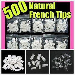 Vente chaude DIY 500 Pcs Faux Ongles Complet Conseils Blanc Naturel Clair Faux Gel Art Acrylique Outil