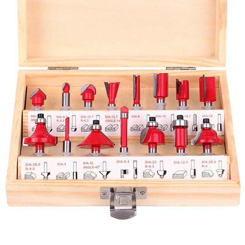 15 teile/satz Holzbearbeitung Fräser 1/4 ''/8mm/1/2'' Schaft Hartmetall-fräser Für holz Cutter Gravur Schneidwerkzeuge