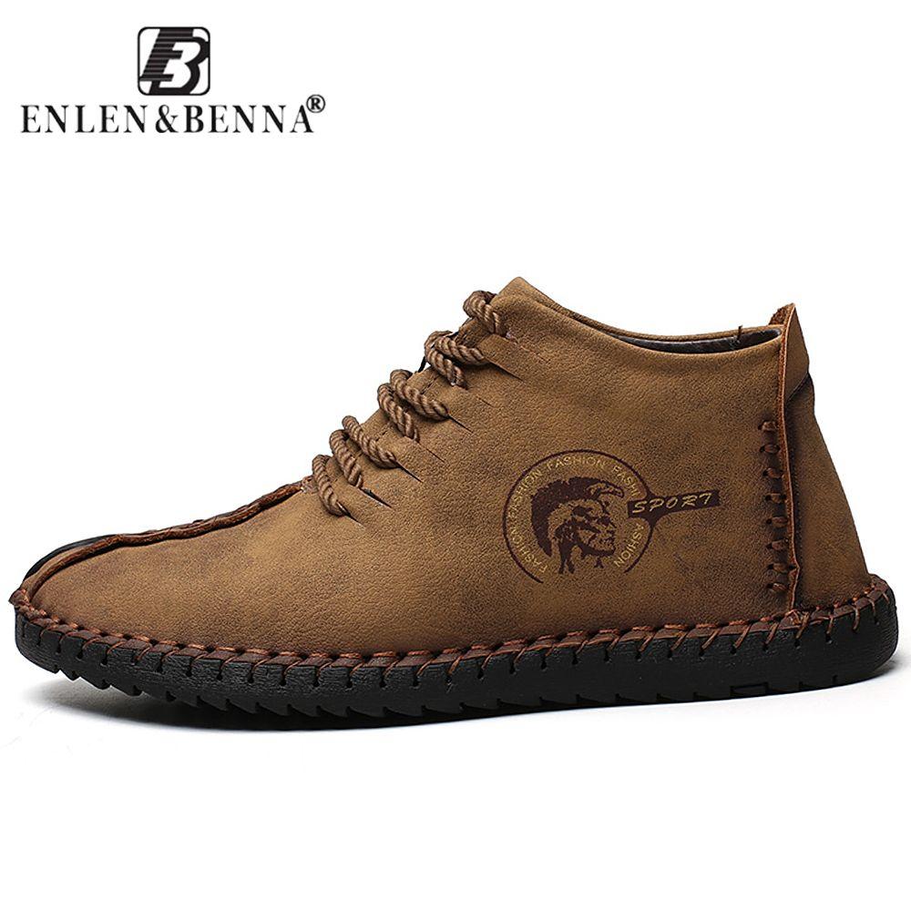 2018 Fashion Leather Shoes Men Full Handtailor Vintage Sneakers Huarache Moccasins Non-slip Super Hot Flats Black Plus Sizes 46