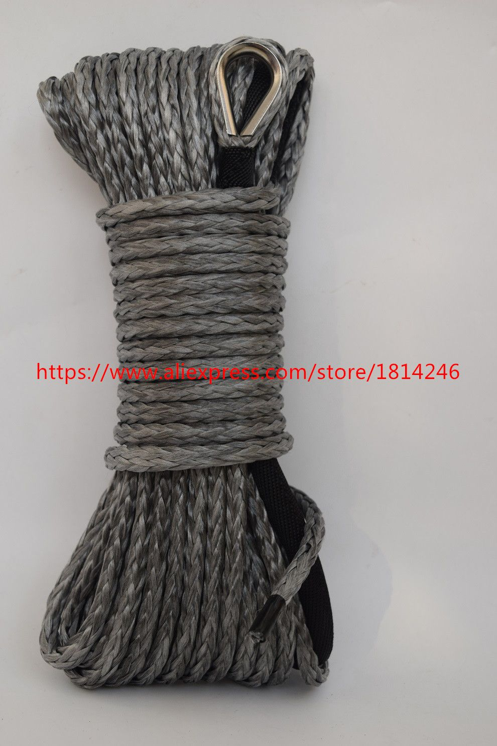 Free Shipping Grey 6mm*15m Synthetic Winch Rope for Offroad Parts,ATV Winch Cable,Off Road Rope,Winch Line