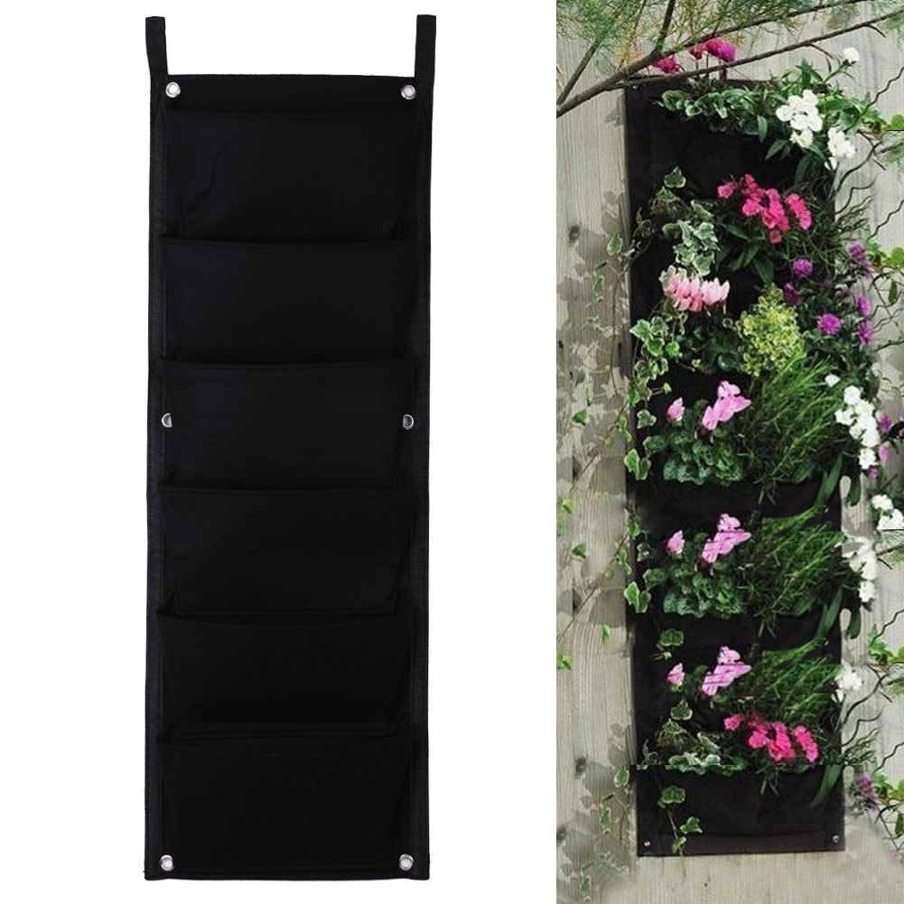 Black 6 Pockets Flower Pots Vertical Planter On Wall Hanging Felt Gardening Plants Green Field Grow Container Bags Indoor