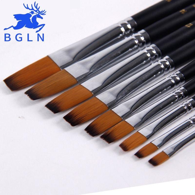 Bgln 9Pcs/set Artist Paint Brush For Watercolor, Acrylic, Oil, Art, Face Painting, Flat Long Handle Paint Brushes Art Supplies