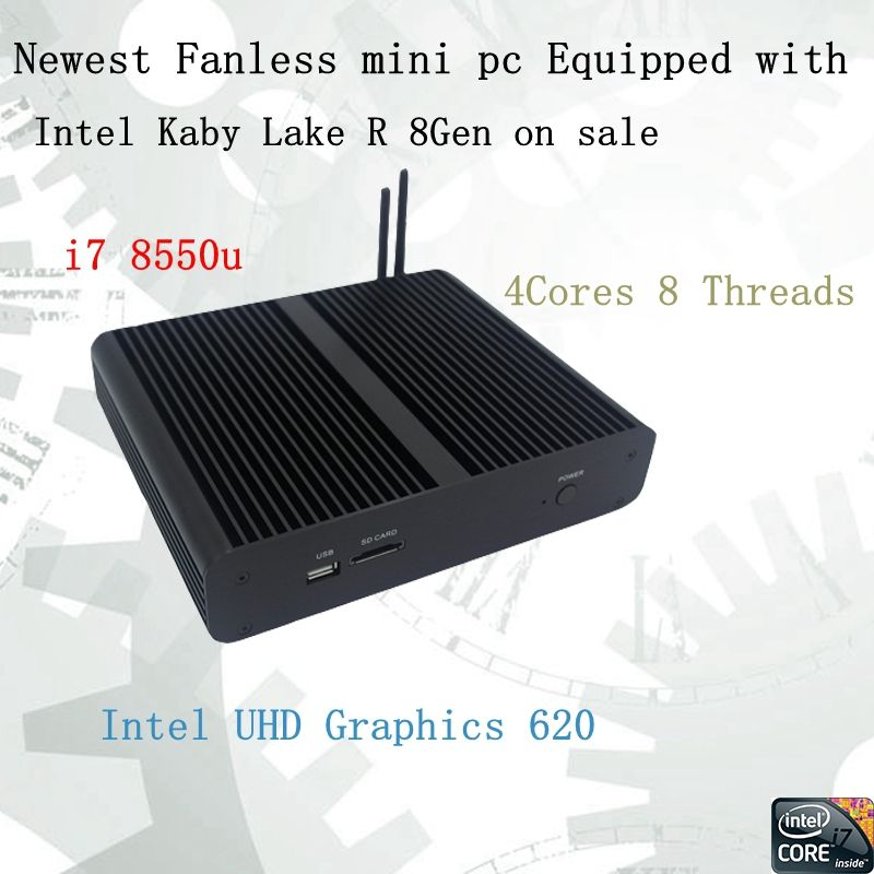 Newest Kaby Lake R 8Gen Fanless mini pc i7 8550u Intel UHD620 win10 Quad Core 8 Threads DDR4 2133 2400 NUC Freeshipping pc