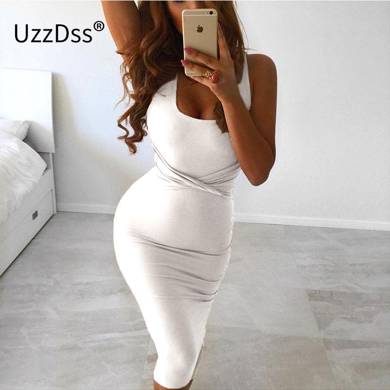 2017 D'été Femmes Sexy Sans Manches Blanc Réservoir Moulante Robe Croix Criss Coton Mélange Club Party Slim Robes robes Robe Noire