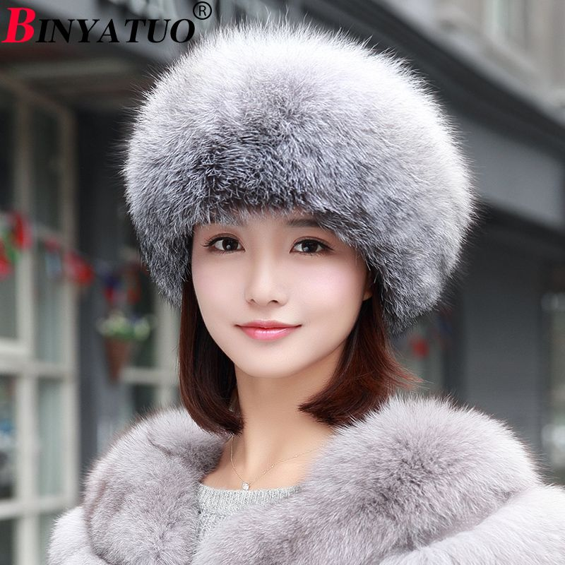 2017 Autumn and Winter New Fox Fur Fur Hat Fashion New Female Hat 3 Kinds of Sizes