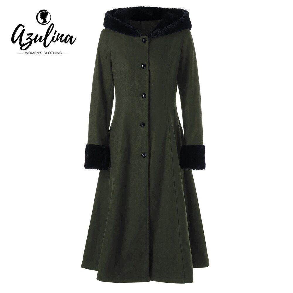 Winter Coat Women 2017 Wool Long Slim Lace Up Longline Hooded Coat Tops AZULINA New Fashions Gothic Style Solid Woman Clothes