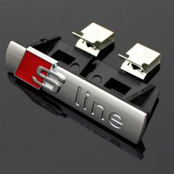 3D s-line Sline parrilla delantera emblema de la insignia del cromo plástico ABS parrilla delantera etiqueta accesorios para Audi A1 A3 a4 B6 B8 B5 B7 A5