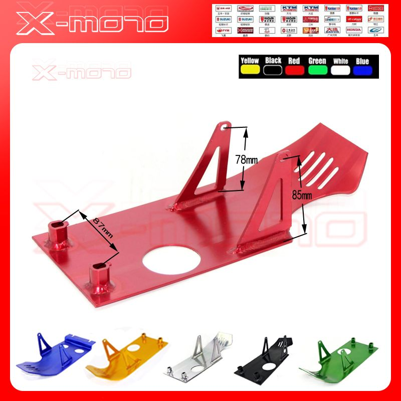 Color Aluminum Skidplate Skid Plate Engine Case Protector For CRF50 XR50 Z50 Stomp Demon X WPB Orion M2R Motorcycle Enduro