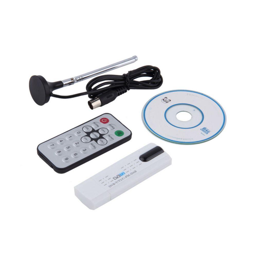 Digital DVB-T2/T DVB-C USB 2.0 TV Tuner Stick HDTV Receiver with Antenna Remote Control HD USB Dongle PC/Laptop for Windows