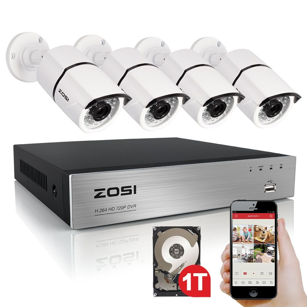 ZOSI High Quality 1080P HD Outdoor Security Camera System 1080P HDMI CCTV Video Surveillance 4CH DVR Kit 1TB HDD TVI Camera Set