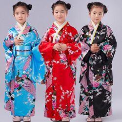 Enfants Paon Yukata Vêtements Fille Japonais Kimono Robe Enfants Yukata Haori Costume Traditionnel Japones Kimono Costume Enfant