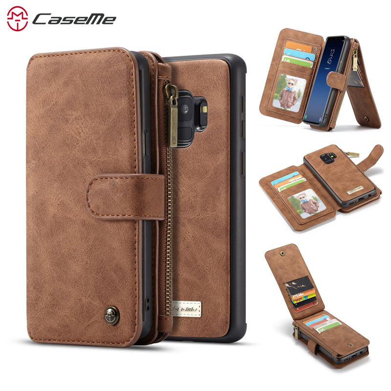 CaseMe Stand Wallet Case For Samsung Galaxy S9 S9 plus Luxury Genuine leather Flip case cover for galaxy s9 s9+ flip case coque