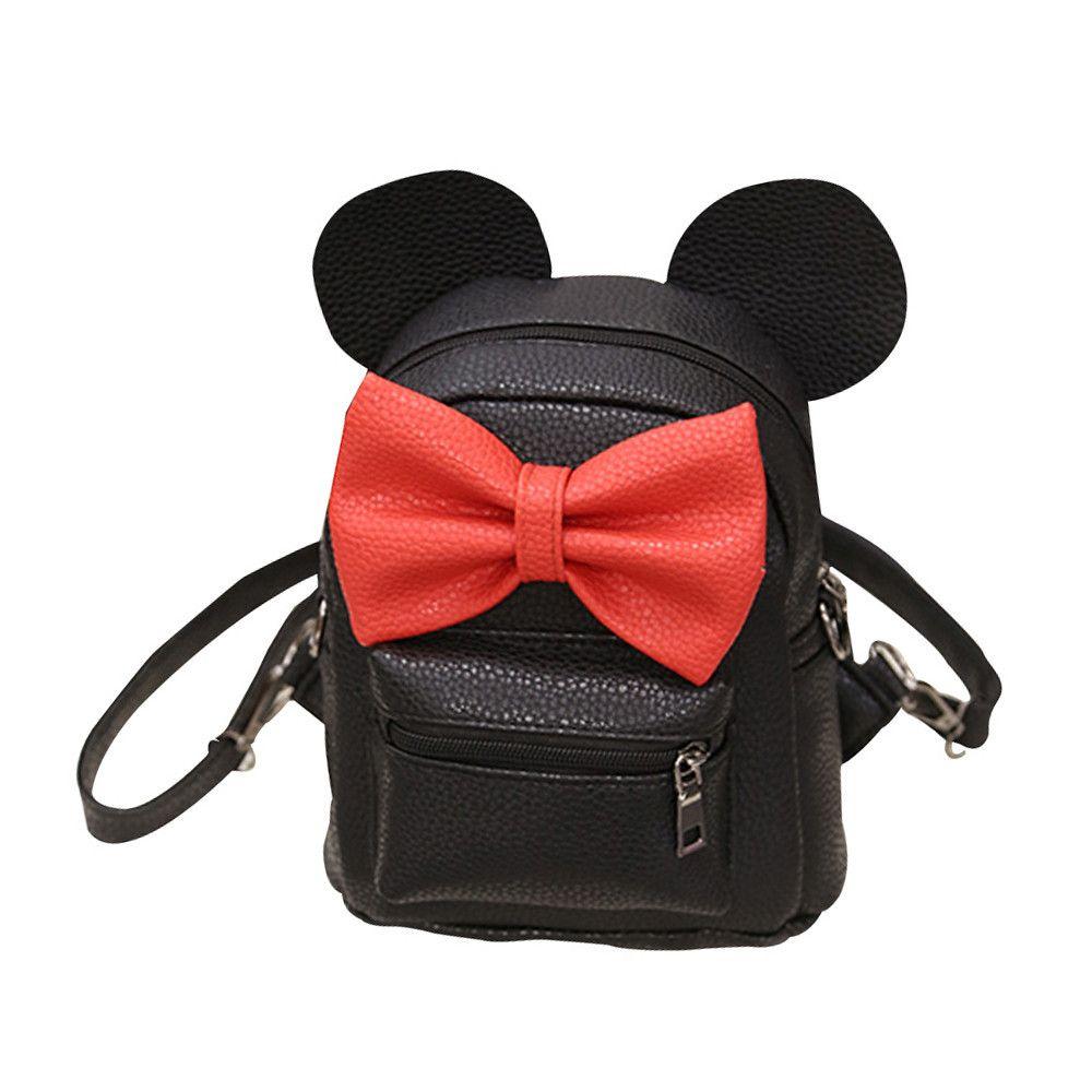 2018 New Mickey Backpack Pu Leather Female Mini Bag Women's Backpack Sweet Bow Teen Girls Backpacks School Bag Mochila Feminina