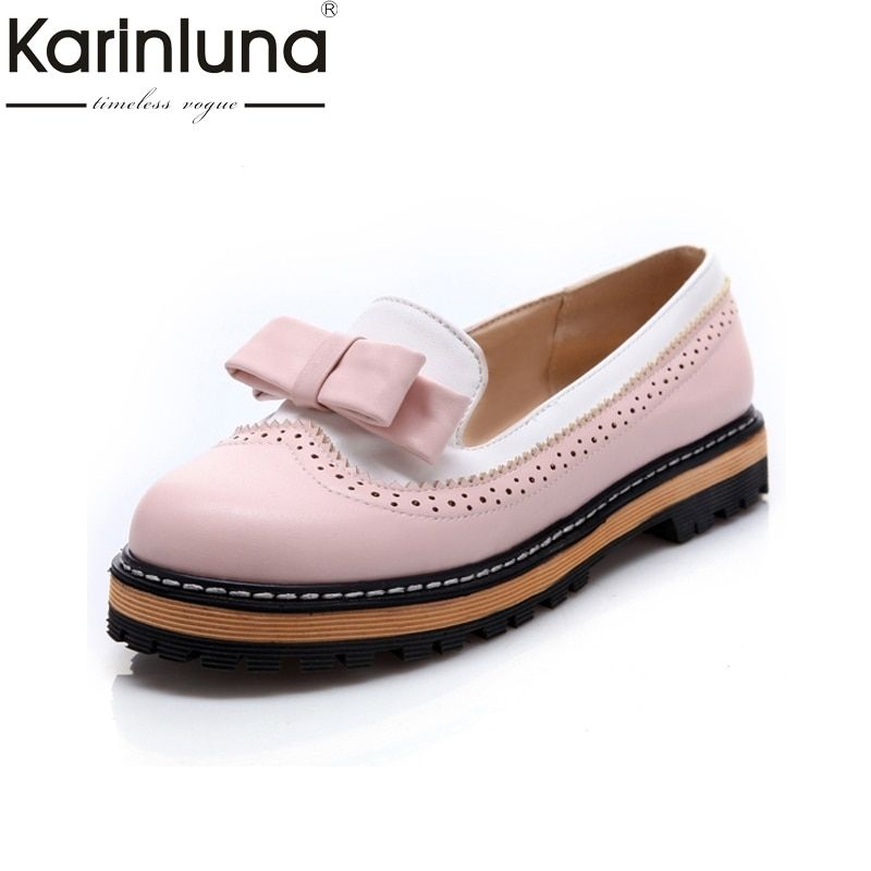 KARINLUNA Big Size 34-43 Spring Autumn Slip On Flat Women Shoes Cute Bowtie Lace Shallow Mouth <font><b>Ladies</b></font> Platform Shoes
