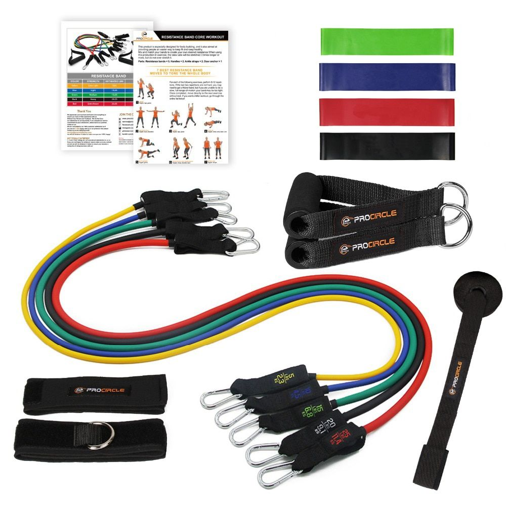 Procircle Resistance Bands set - 16 Pcs Expander <font><b>Tubes</b></font> Rubber Band For Resistance Training, Physical Therapy, Home Gyms Workout