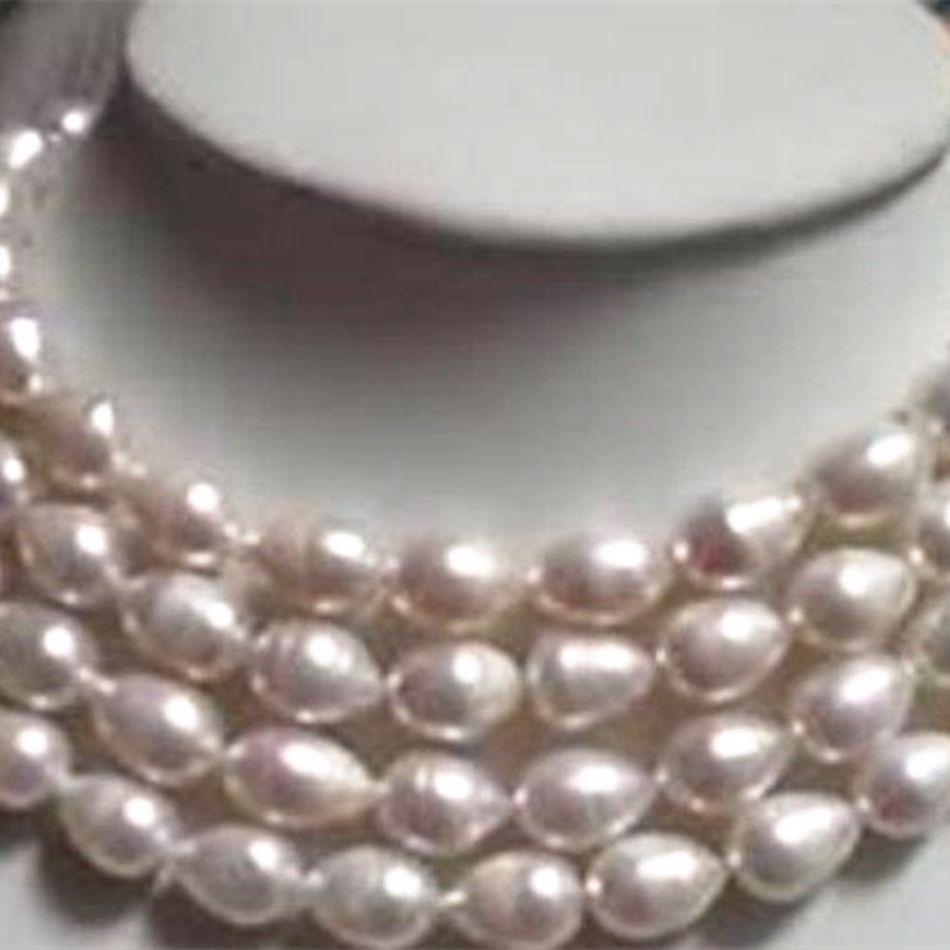 9-10mm white rice barrel freshwater cultured natural pearl beads necklace fashion party gifts elegant jewelry 48inch GE4031