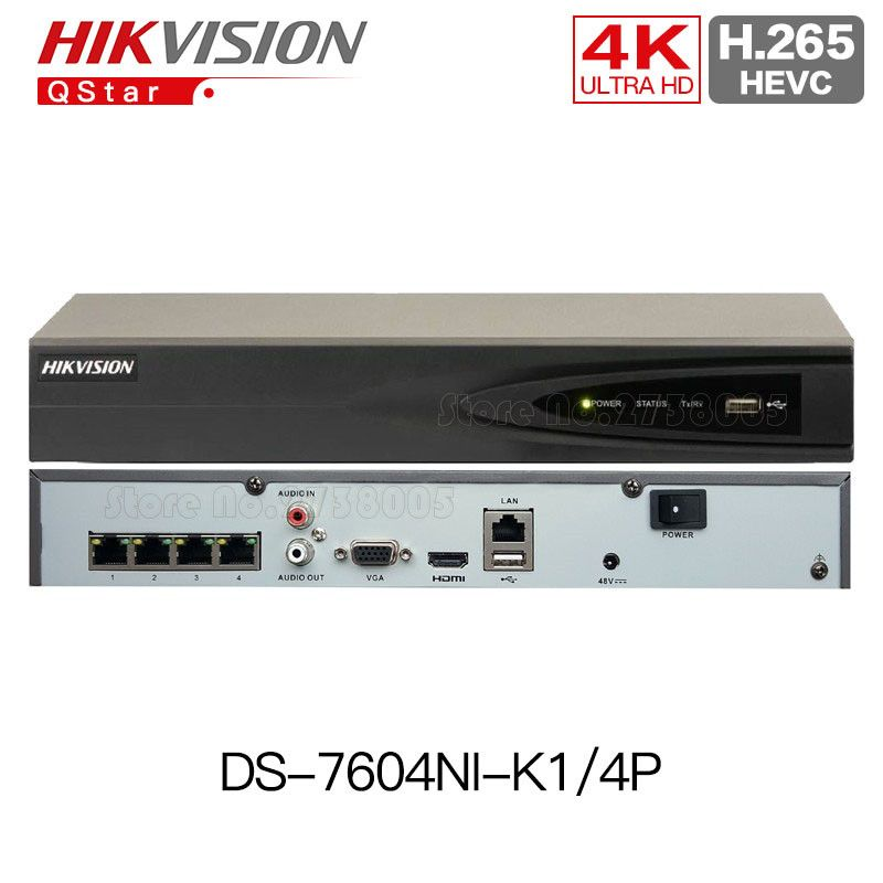 Hikvision H.265 4K 4CH POE NVR DS-7604NI-K1/4P Embedded Plug & Play 4K NVR H.265 Up to 8MP 4POE 4CH for ip camera CCTV System