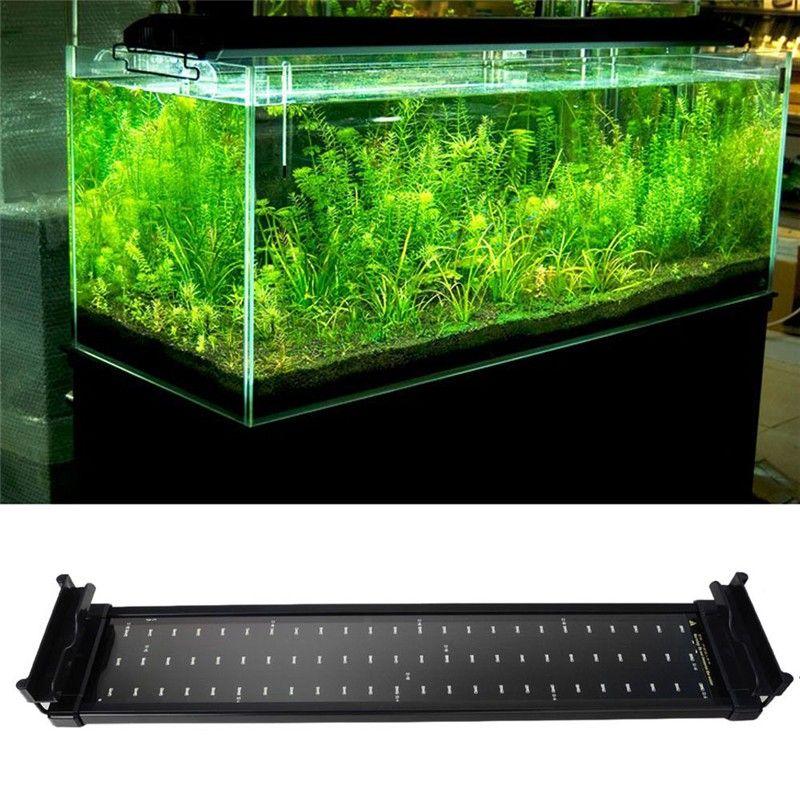 Рыбы в аквариуме Светодиодное освещение 50 см-68 см выдвижная Рамки лампа SMD 72leds 11 Вт белый + синий 2 режима EU/US/UK Мощность переходник