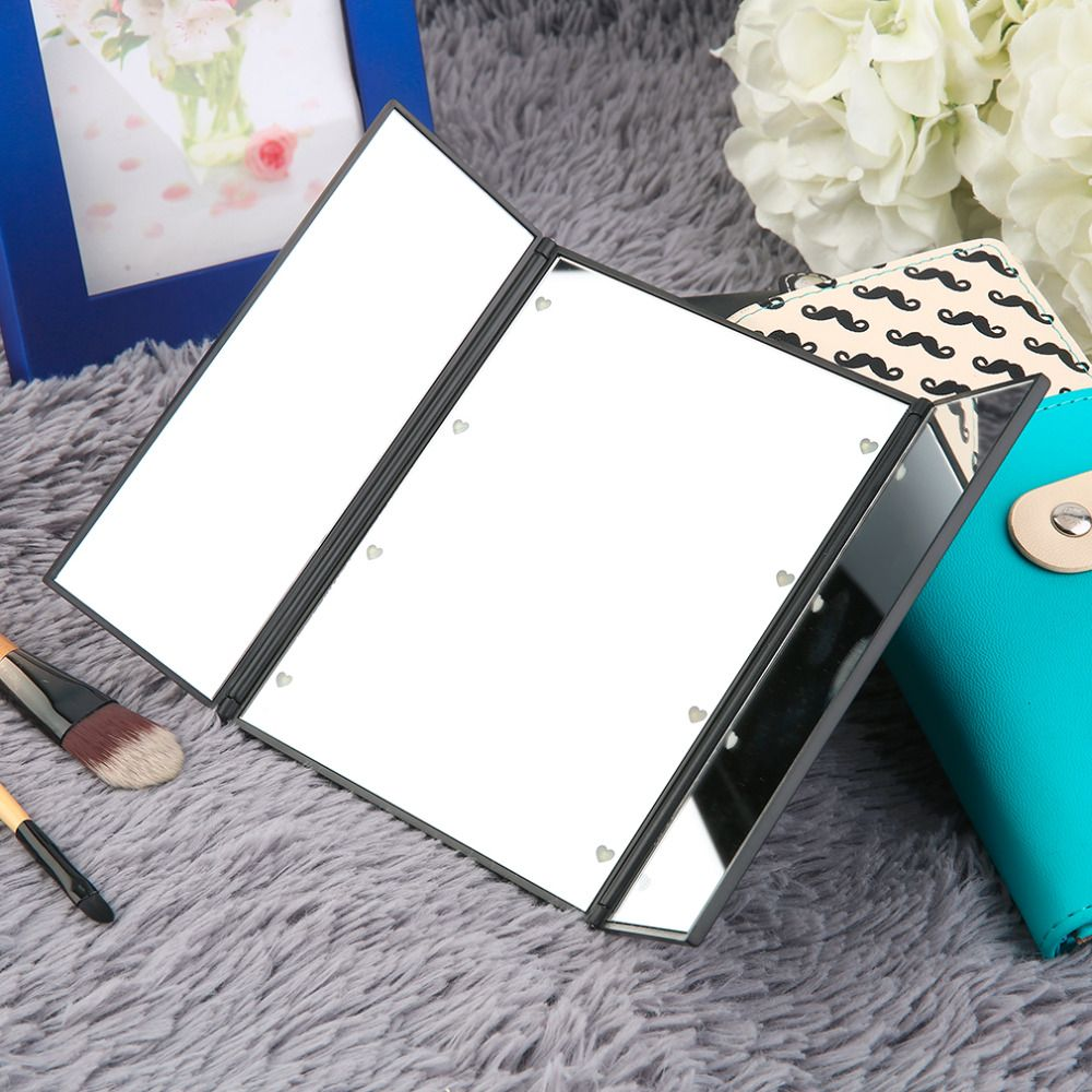 High Quality Super Bright LED Lights Foldable Triple Mirror With Magnetic Opening Makeup Mirrors