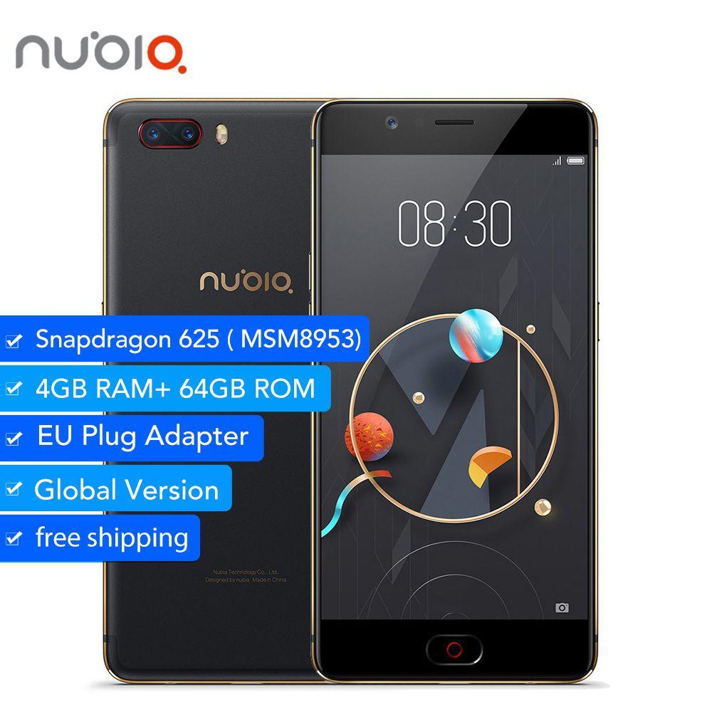 Original Nubia M2 4GB 64GB Global Version Snapdragon 625 Octa Core 2.0GHz 5.5'' 16MP Dual 13MP 4G Fingerprint SmartPhone
