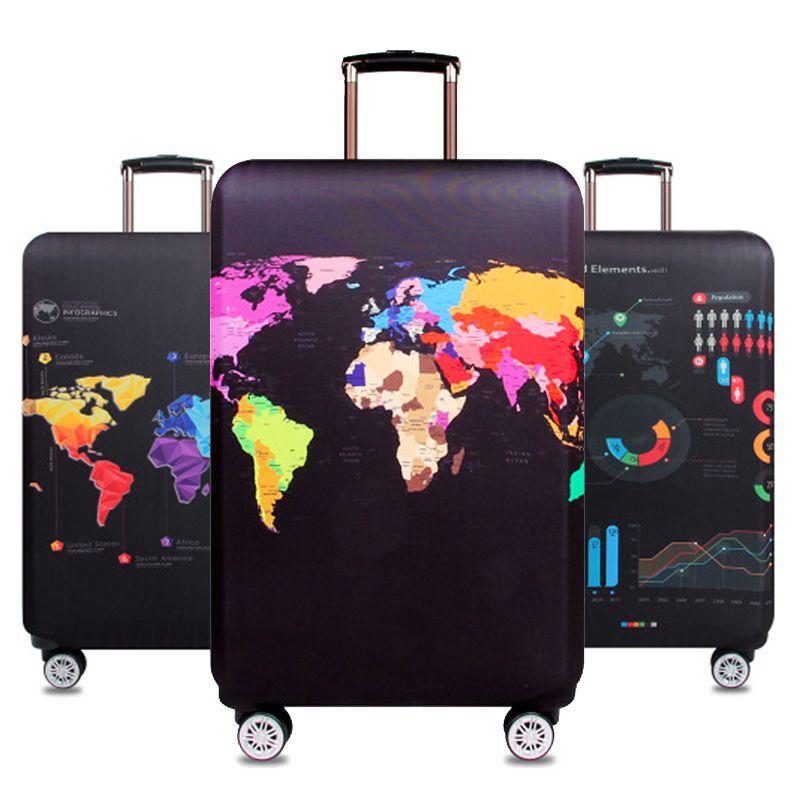 Carte du monde voyage bagage valise housse de protection Trolley sac à bagages housse hommes femmes épais élastique étui pour valise 272