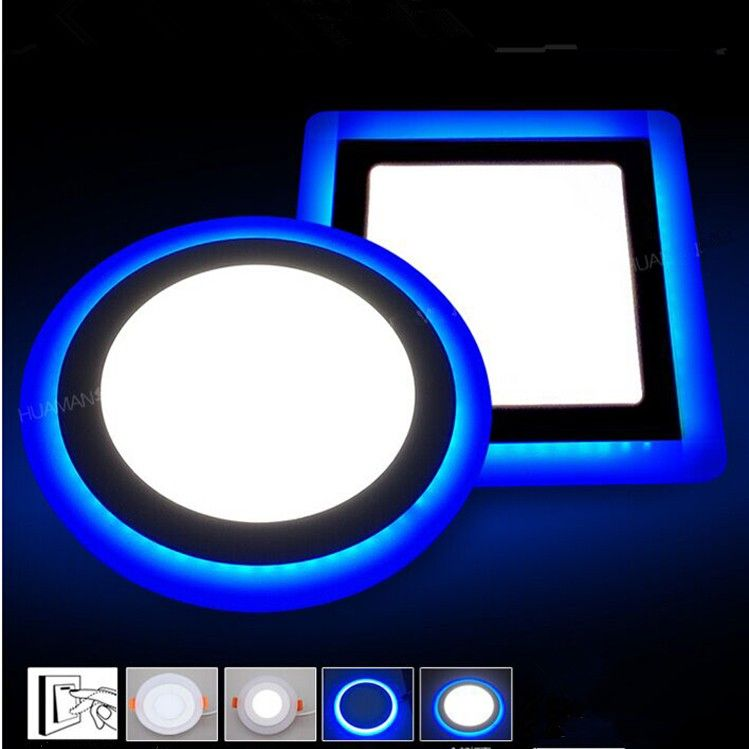 6W 9W 18W 24W led Ceiling Recessed panel Light Painel lamp home decoration round square Led Panel Downlight Blue+White 2 colors