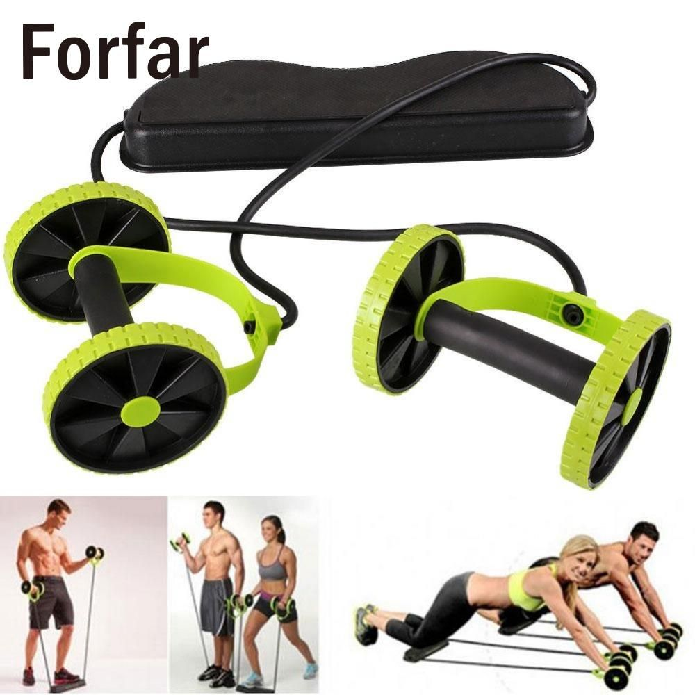Forfar Dual Wheels Roller Muscle exercise Sports Stretch Elastic Abdominal Resistance Pull Rope Tool Abdominal muscle trainer