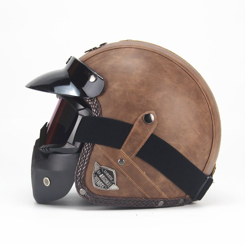 Free shipping PU Leather Harley Helmets 3/4 Motorcycle Chopper Bike helmet open face vintage motorcycle helmet with goggle mask