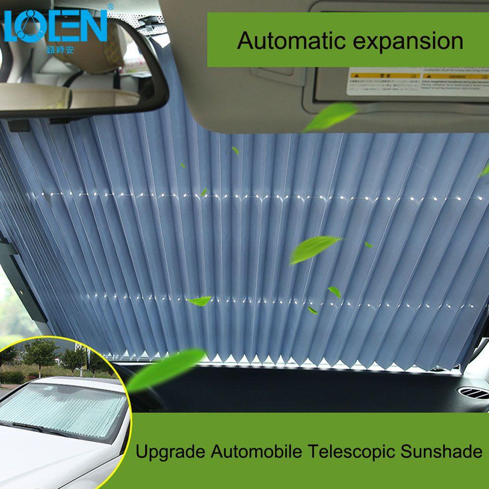 46/65/70 x 155CM Car sunshade Retractable windshield Block sun shade cover Front/Rear window foil Curtain for Solar UV proect