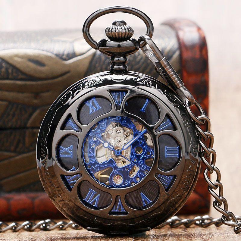 De luxe Steampunk Creux Squelette Mécanique Montre De Poche Chiffres Romains Cadran Vintage Fob Chaîne Pendentif Horloge Hommes Femmes Cadeaux