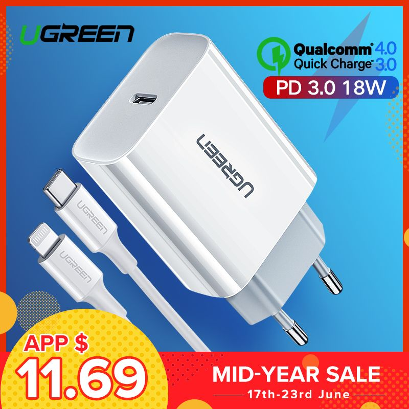 Ugreen 18W PD Fast USB Charger Quick Charge 4.0 3.0 USB Type C Charger for iPhone 8 X XS PD Charger for Huawei Samsung Charger