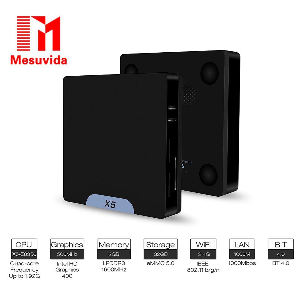 X5 Mini PC Intel Atom X5 - Z8350 2GB RAM 32GB ROM Bluetooth 4.0 1000M LAN 2.4G Wifi TV Box Support Windows 10 & Android 5.1