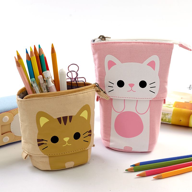 Cute Pencil Case Zipper Kawaii Cat Pencil Box Boys Girls School Supplies Student Stationery Gift for Kids Trousse Scolaire Stylo