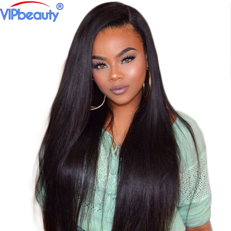 Lace front human hair wigs pre plucked 180% density vip beauty Peruvian straight human hair wigs remy hair wig