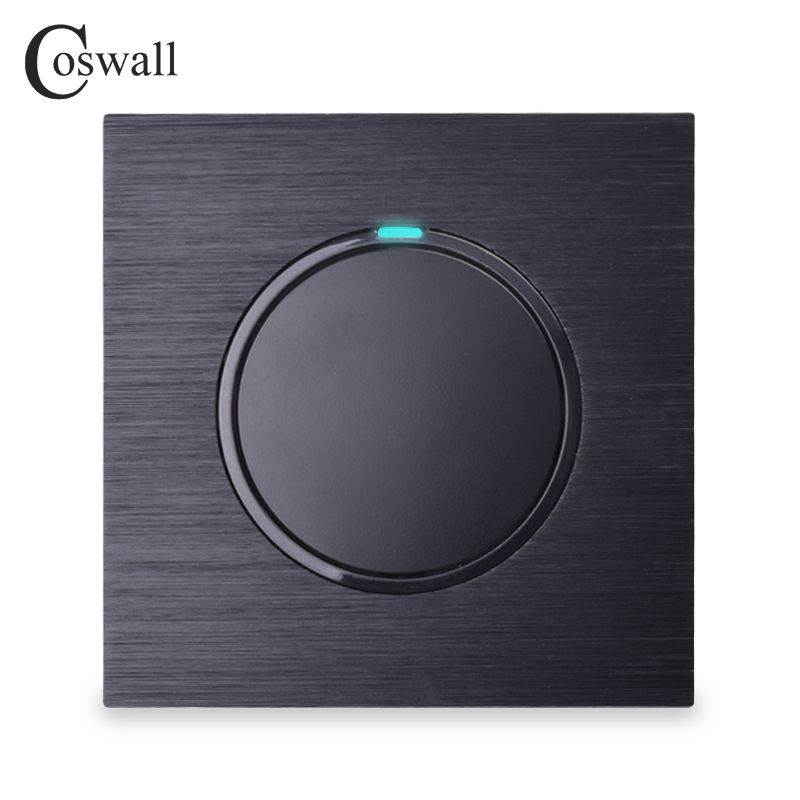 Coswall Luxurious 1 Gang 1 Way Random Click On / Off Wall Light Switch With LED Indicator Black Aluminum Metal Panel
