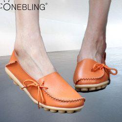 Onebling Ukuran 35-44 Kulit Asli Wanita Pantofel 2019 Musim Gugur Lembut Slip Pada Sepatu Flat Kasual Pijat Outdoor peas Sepatu