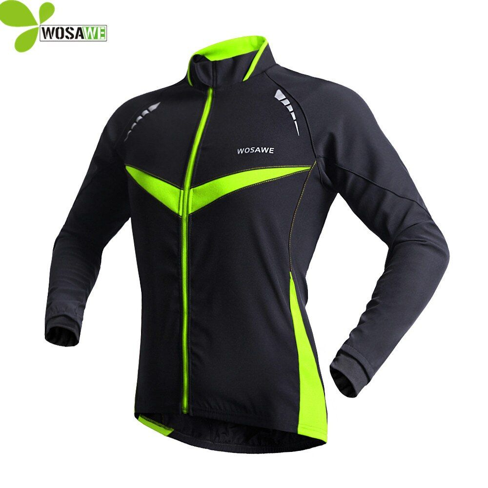WOSAWE Windproof waterproof Cycling jacket men Long Sleeve coat Winter Autumn Warm Clothing Cycling Wear Reflective Bike Jackets