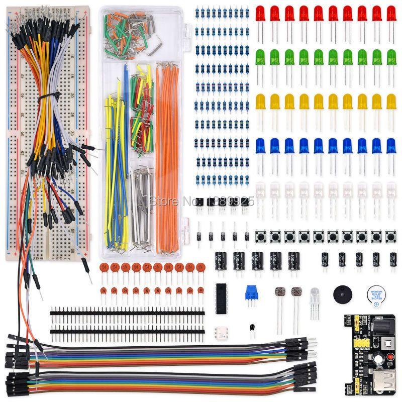 Electrónica mejorada Kit Módulo de fuente de Alimentación, Cable de puente, Potenciómetro de precisión, 830 puntos de amarre Breadboard