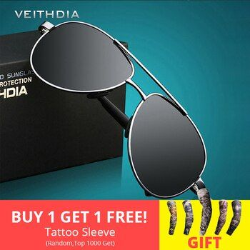 VEITHDIA Men's Sunglasses Brand Designer Pilot Polarized Male Sun Glasses Eyeglasses gafas oculos de sol masculino For Men 1306