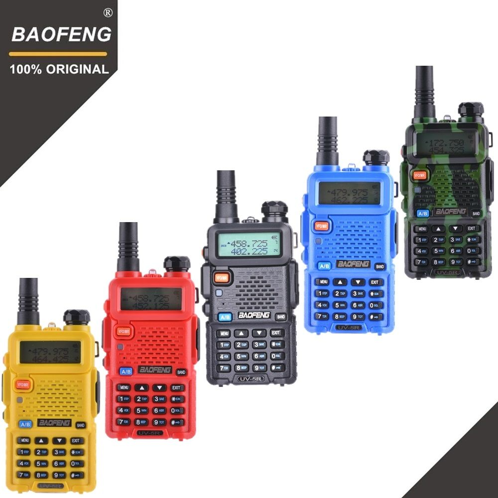 100% Original Baofeng UV-5R Walkie Talkie Dual Band Professional 5W VHF&UHF Two Way Radio UV5R Handheld Hunting HF Transceiver
