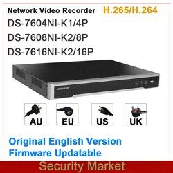 Original hik english version NVR Embedded Plug&Play 4/8/16Ch NVR DS-7604NI-K1/4P and DS-7608NI-K2/8P and DS-7616NI-K2/16P