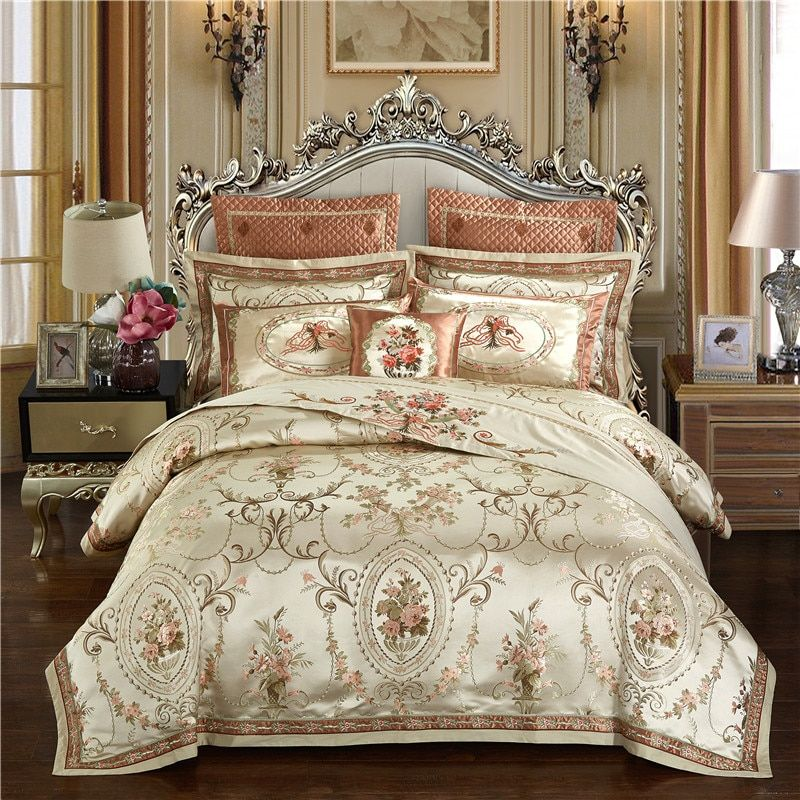 Gold Color Luxury Wedding Royal Bedding set Queen King size Cotton Bed sheet set Embroidery Jacquard Duvet cover Pillowcase