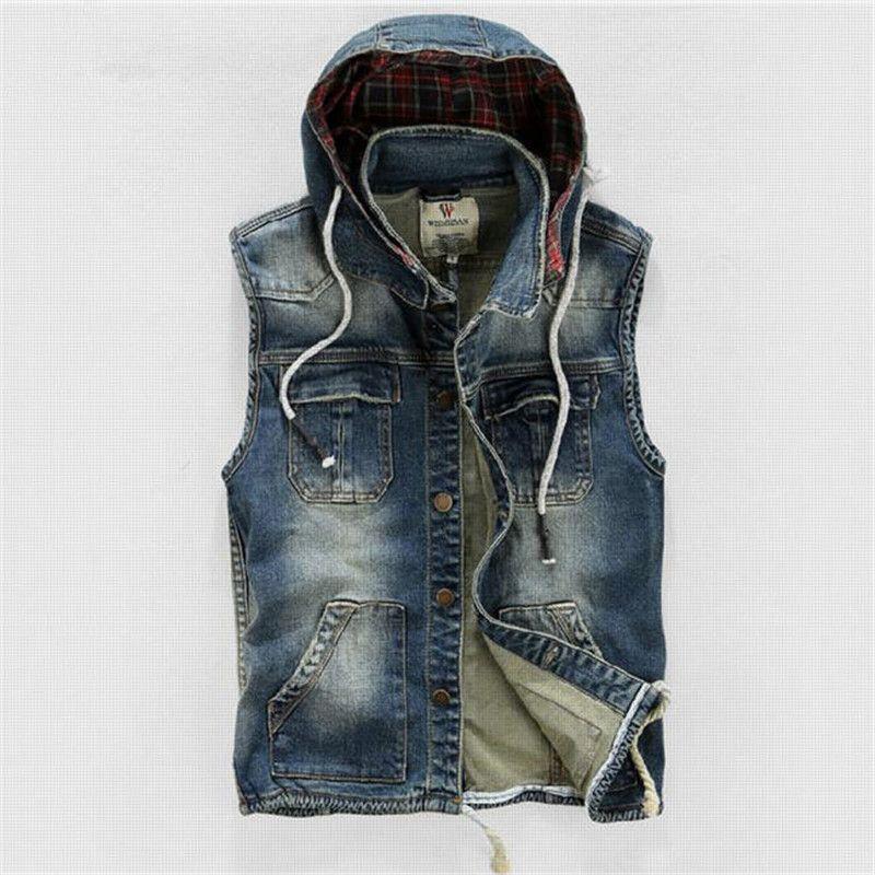 Hommes 'à capuche Denim gilet mâle grande taille jeans décontractés gilet nouveau haute qualité rétro sans manches Denim veste mâle 4XL A1411