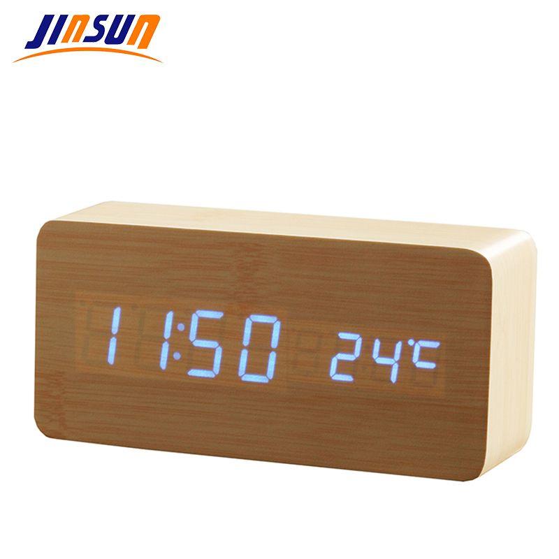 Jinsun удара LED будильник время/дата/температура цифровой древесины бамбука Voice Настольные Часы LED Дисплей рабочего Цифровой Таблица часы