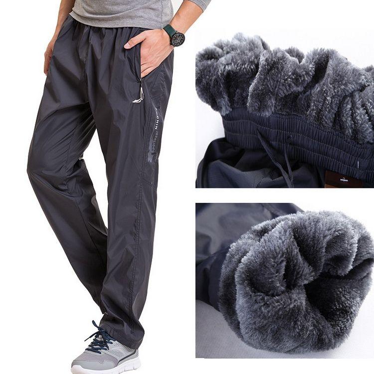 Grandwish Lana Gruesa Pantalones de Hombres Fuera de Los Hombres de Lana de Invierno Cálido Cremallera Rectos Para Hombre Pantalones de Lana de Peso Pesado, PA785