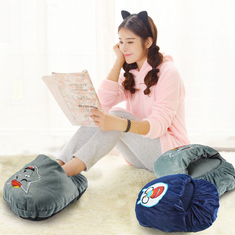 XC USHIO 150g Cartoon USB Hand Foot Warmer Winter Slipper Electric Heated Warm Shoes Super Soft Anti-slip Foot Warmer Pad